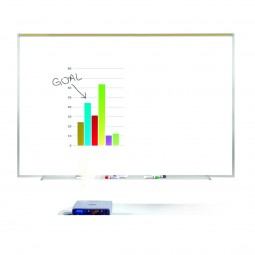 """Ghent PRM1-34-4 36½"""" x 48½"""" Aluminum Frame Porcelain Magnetic Projection Whiteboard with 1"""" Maprail"""