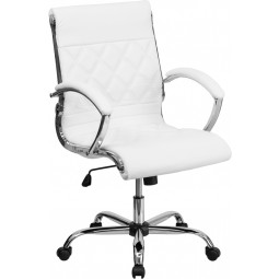 Mid-Back Designer Leather Executive Office Chair with Chrome Base - White