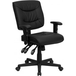 Mid-Back Multi-Functional Task Chair with Height Adjustable Arms - Black Leather