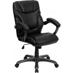 Mid-Back Leather Overstuffed Office Chair - Black