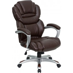 High Back Brown Leather Executive Office Chair with Leather Padded Loop Arms - Brown