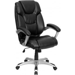 High Back Leather Executive Office Chair - Black