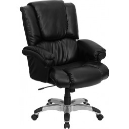 High Back Black Leather OverStuffed Executive Office Chair