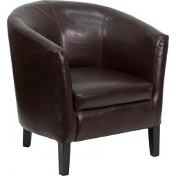Barrel Shaped Guest Chair - Brown Leather