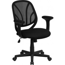 Mid-Back Black Mesh Computer Task Chair - 2 Seat Options