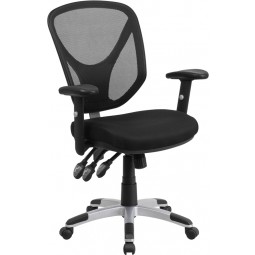 Mid-Back Black Mesh Chair with Triple Paddle Control and Height Adjustable Arms