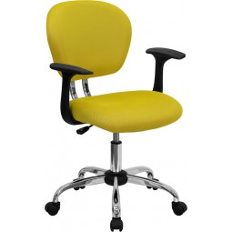 Mid-Back Yellow Mesh Task Chair with Arms and Chrome Base