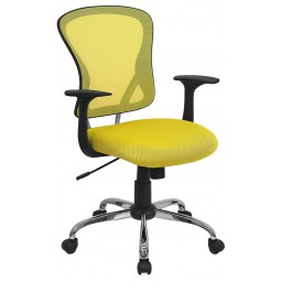Mid-Back Yellow Mesh Office Chair with Chrome Finished Base
