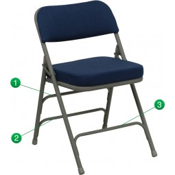 Signature Series Premium Curved Triple Braced & Quad Hinged Upholstered Metal Folding Chair - Navy Fabric