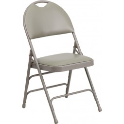 Signature Series Extra Large Ultra-Premium Triple Braced Gray Vinyl Metal Folding Chair with Easy-Carry Handle