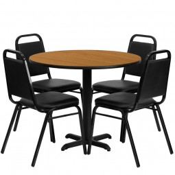 36'' Round Laminate Table Set with 4 Black Trapezoidal Back Banquet Chairs - 3 Table Colors