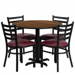 36'' Round Laminate Table Set with 4 Ladder Back Metal Chairs - Burgundy Vinyl Seat - Walnut