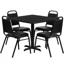 36'' Square Laminate Table Set with 4 Black Trapezoidal Back Banquet Chairs - Black