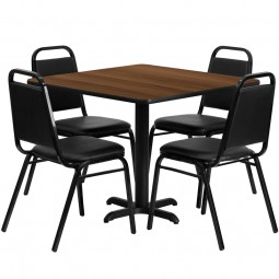 36'' Square Laminate Table Set with 4 Black Trapezoidal Back Banquet Chairs - Walnut