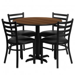 36'' Round Laminate Table Set with 4 Ladder Back Metal Chairs - Black Vinyl Seat - Walnut