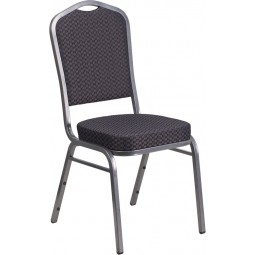 Signature Series Crown Back Stacking Banquet Chair with 2.5'' Thick Seat - Silver Vein Frame - Gray Patterned Fabric