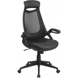 High Back Executive Mesh Chair with Leather Seat and Flip-Up Arms - Black
