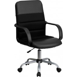 Mid-Back Black Mesh & Leather Chair