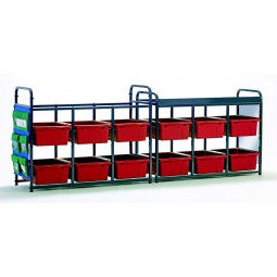 Leveled Literacy System - Lesson Storage Organizer with Red Tubs - Copernicus LLS300-R