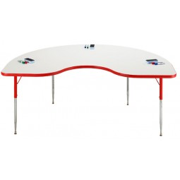 """48"""" x 96"""" Kidney Shape Colorful-Edge Dry-Erase Markerboard Activity Table - Allied Plastics M6496K"""