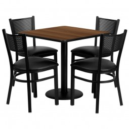 30'' Square Table Set with 4 Grid Back Metal Chairs - Walnut Laminate Table - Black Vinyl Seat