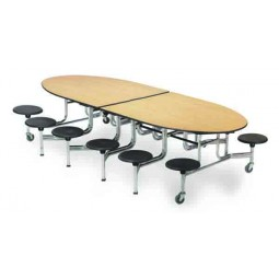 AmTab MSE1012 Mobile Stool Empire Table 10ft with 12 Stools