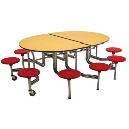 AmTab MSE610 Mobile Stool Empire Table 6ft with 10 Stools