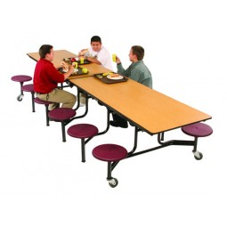 AmTab MST1212 Mobile Stool Rectangular Table 12ft with 12 Stools