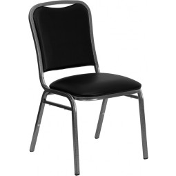 Signature Series Stacking Banquet Chair with Black Vinyl and 1.5'' Thick Seat - Silver Vein Frame