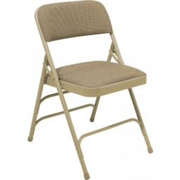 NPS Fabric Upholstered Premium Folding Chair - Beige Fabric - Beige Frame - 2301