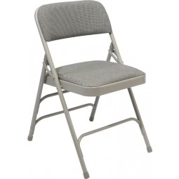 NPS Fabric Upholstered Premium Folding Chair - Double Brace - Gray Fabric - Gray Frame - 2302