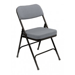 "NPS 2"" Fabric Upholstered Premium Folding Chair - Gray Fabric - Black Frame - 3212"
