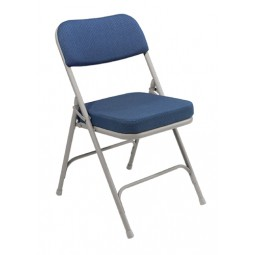 "NPS 2"" Fabric Upholstered Premium Folding Chair - Blue Fabric - Gray Frame - 3215"