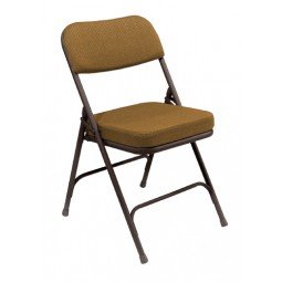 """NPS 2"""" Fabric Upholstered Premium Folding Chair - Gold Fabric - Brown Frame - 3219"""