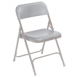 NPS Premium Plastic Lightweight Folding Chair - Gray Plastic - Gray Frame - 802