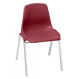 NPS One-Piece Poly Shell Plastic Stack Chair - Burgundy - 8118