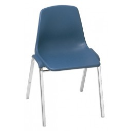 NPS One-Piece Poly Shell Plastic Stack Chair - Blue - 8125