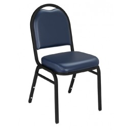 NPS Dome Stack Chair - Black Sandtex Frame - Midnight Blue Vinyl Upholstery - 9204-BT