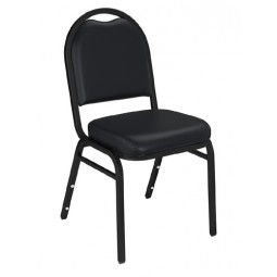 NPS Dome Stack Chair - Black Sandtex Frame - Panther Black Vinyl Upholstery - 9210-BT
