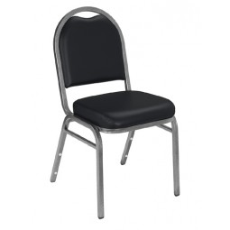 NPS Dome Stack Chair - Silvervein Frame - Panther Black Vinyl Upholstery - 9210-SV