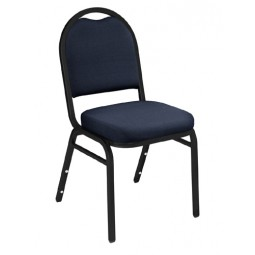 NPS Dome Stack Chair - Black Sandtex Frame - Midnight Blue Fabric Upholstery - 9254-BT
