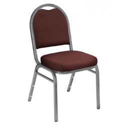 NPS Dome Stack Chair - Silvervein Frame - Rich Maroon Fabric Upholstery - 9258-SV