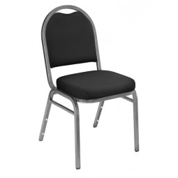 NPS Dome Stack Chair - Silvervein Frame - Ebony Black Fabric Upholstery - 9260-SV