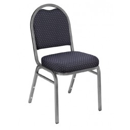 NPS Dome Stack Chair - Silvervein Frame - Diamond Navy Fabric Upholstery - 9264-SV
