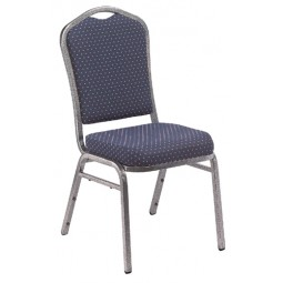 NPS Silhouette Stack Chair - Silvervein Frame - Diamond Navy Fabric Upholstery - 9364-SV
