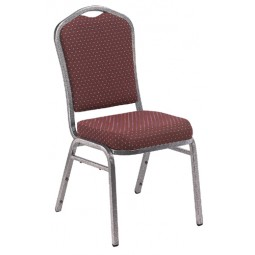 NPS Silhouette Stack Chair - Silvervein Frame - Diamond Burgundy Fabric Upholstery - 9368-SV