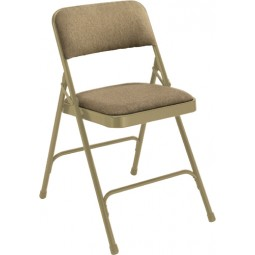 NPS Fabric Upholstered Premium Folding Chair - Beige Fabric - Beige Frame - 2201