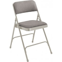 NPS Fabric Upholstered Premium Folding Chair - Double Brace - Gray Fabric - Gray Frame - 2202