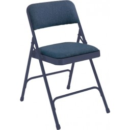 NPS Fabric Upholstered Premium Folding Chair - Imperial Blue Fabric - Blue Frame - 2204