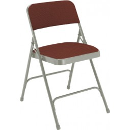 NPS Fabric Upholstered Premium Folding Chair - Cabernet Fabric - Gray Frame - 2208